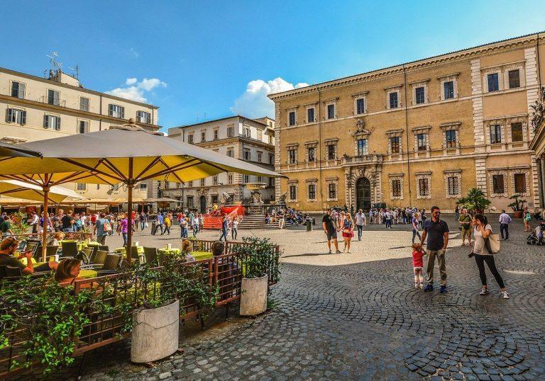 People sat down in a restaurant in Trastevere