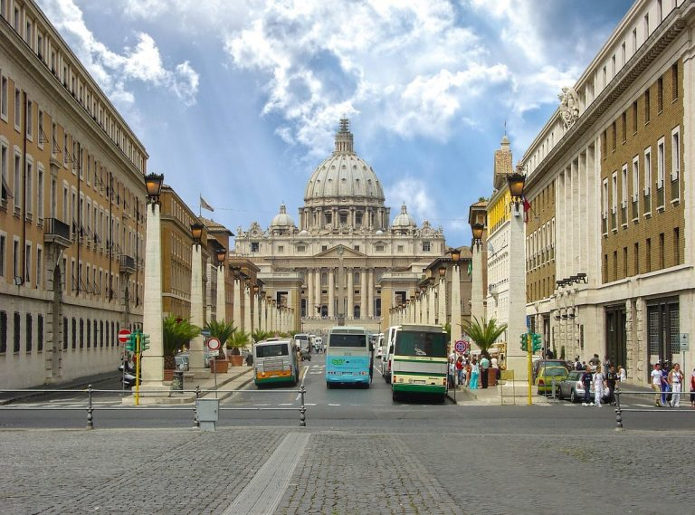 Roman buses waiting outside of the Vatican
