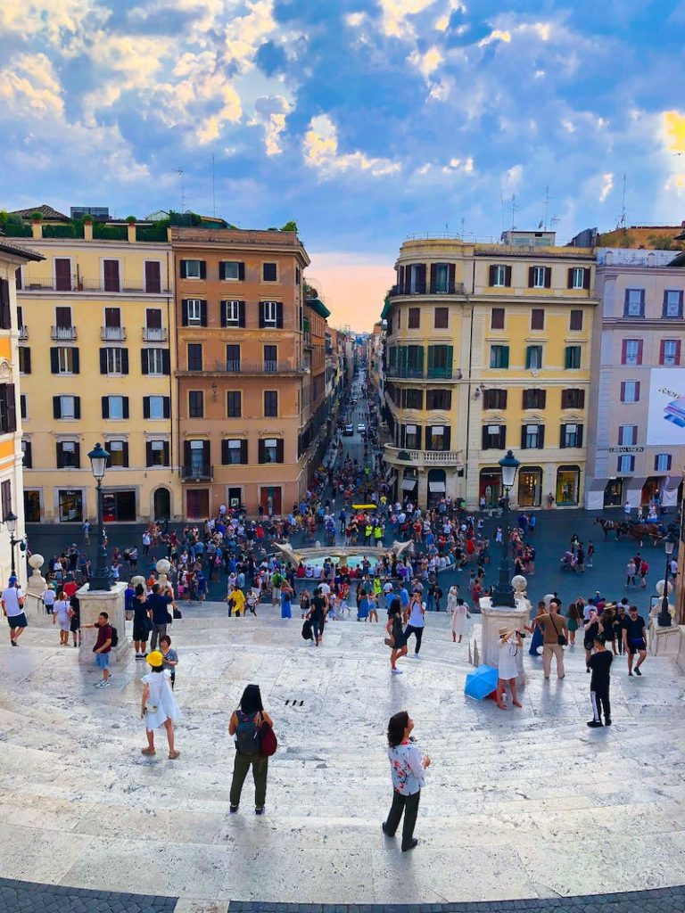 View of the Spanish Steps from the top at Sunset with