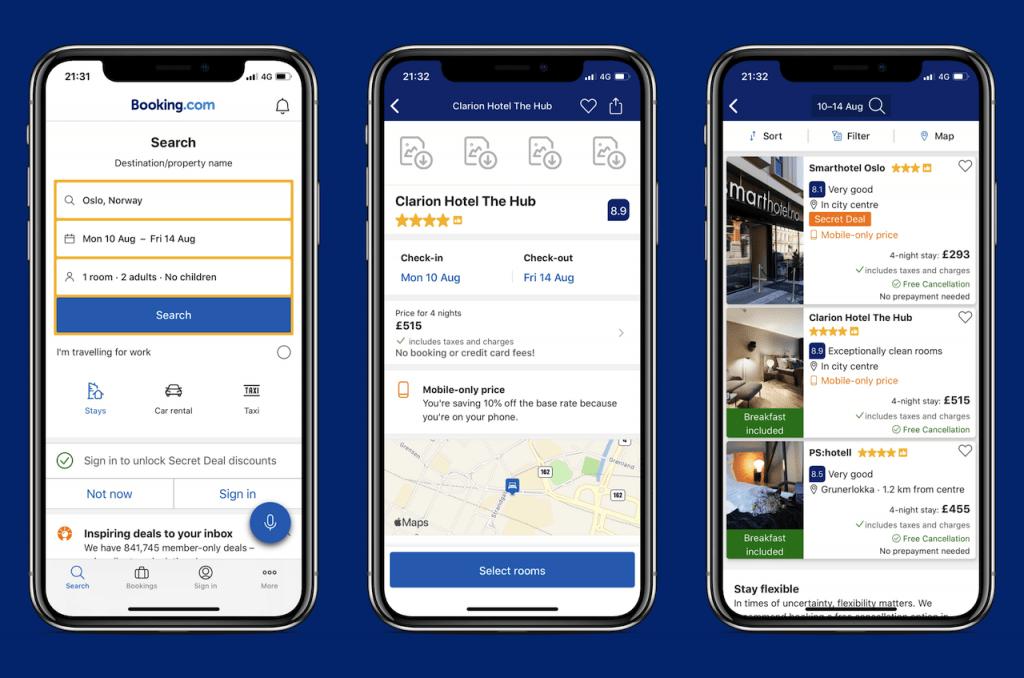 Screenshots of travel app: Booking.com