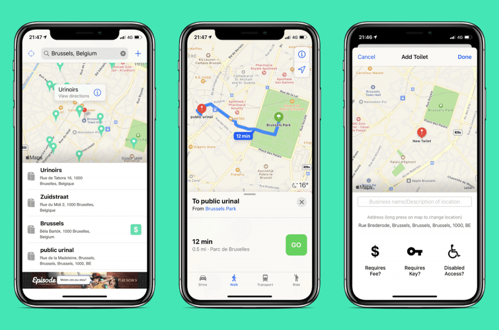 Screenshots of travel app: Flush