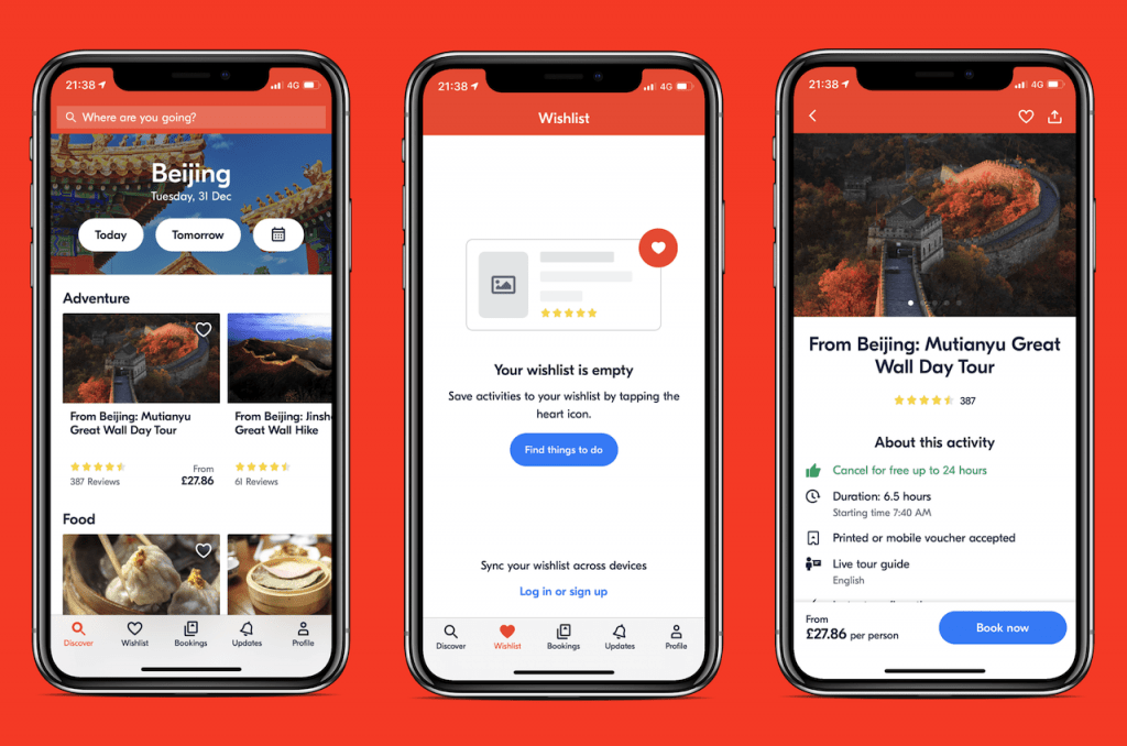 Screenshots of travel app: GetYourGuide