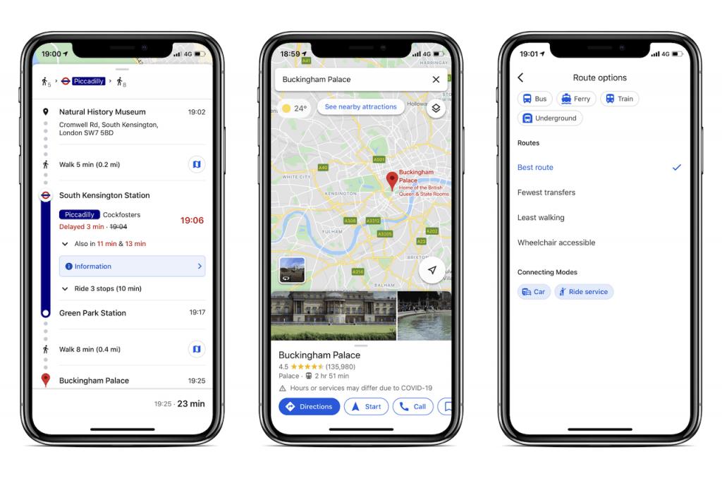 Screenshots of travel app: Google Maps