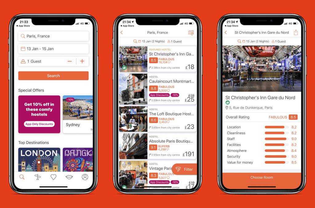 Screenshots of travel app: Hostelworld