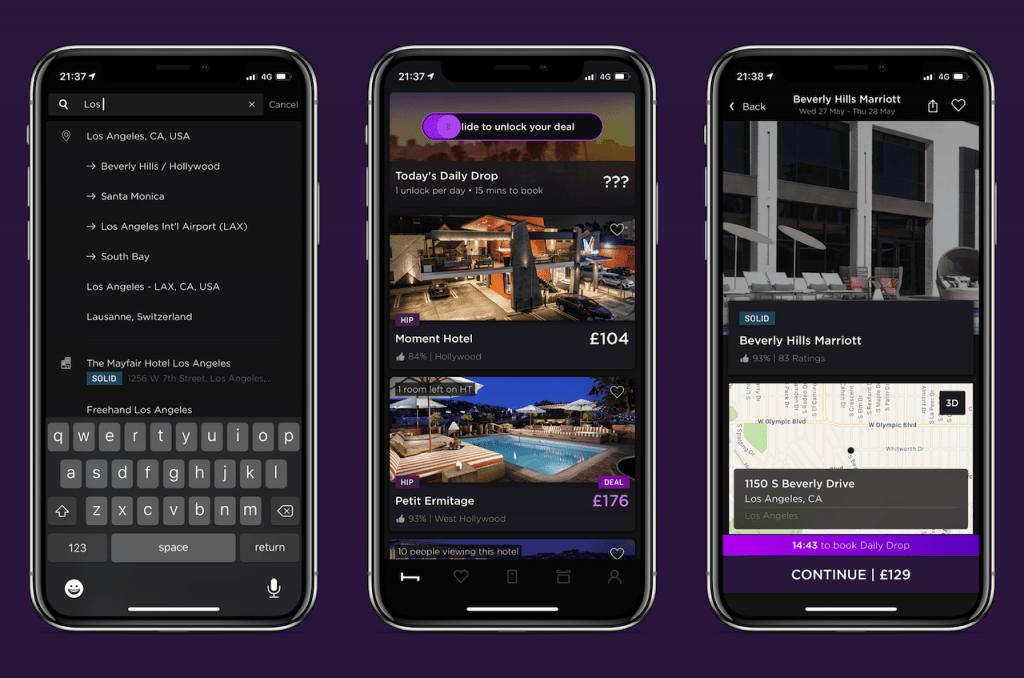 Screenshots of travel app: HotelTonight