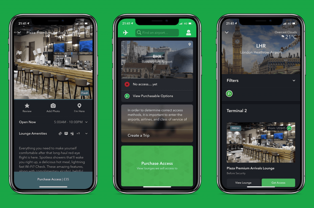 Screenshots of travel app: Loungebuddy