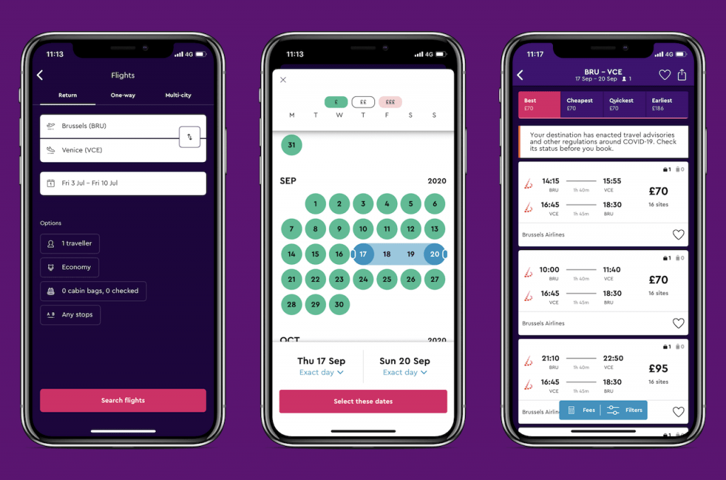 Screenshots of travel app: Momondo
