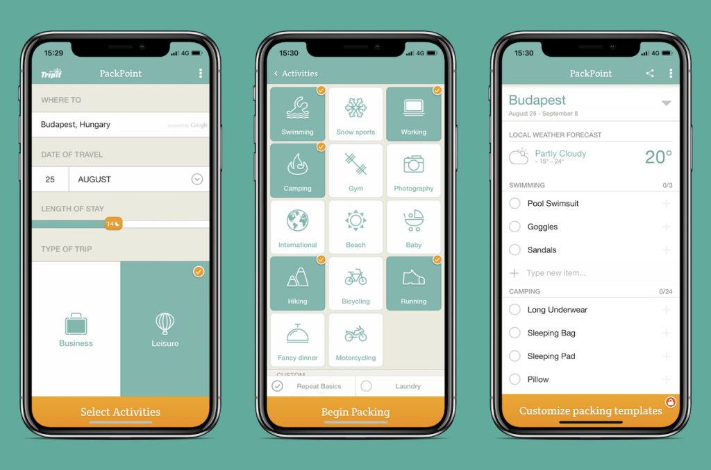 Screenshots of travel app: PackPoint