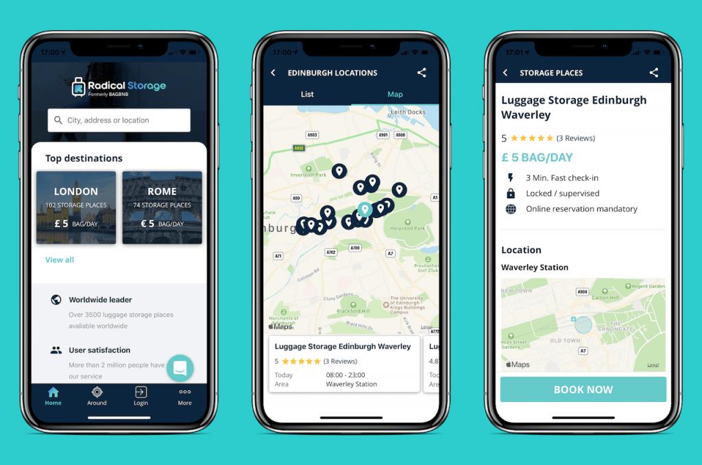 Screenshots of travel app: Radical Storage