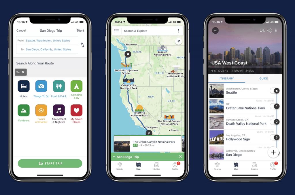 Screenshots of travel app: Roadtrippers
