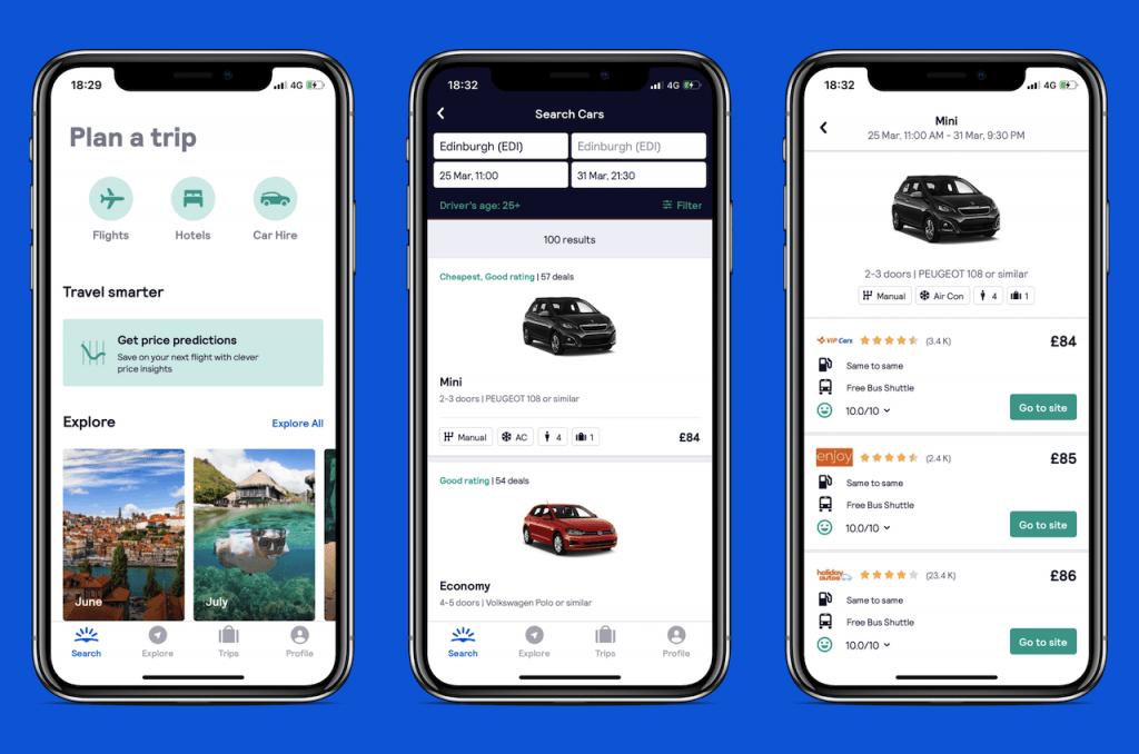 Screenshots of travel app: SkyScanner Car Hire
