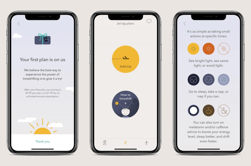 Screenshots of travel app: Timeshifter