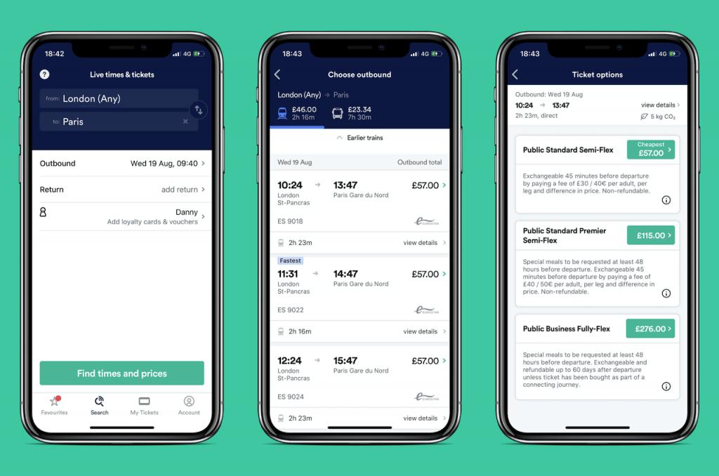Screenshots of travel app: Trainline