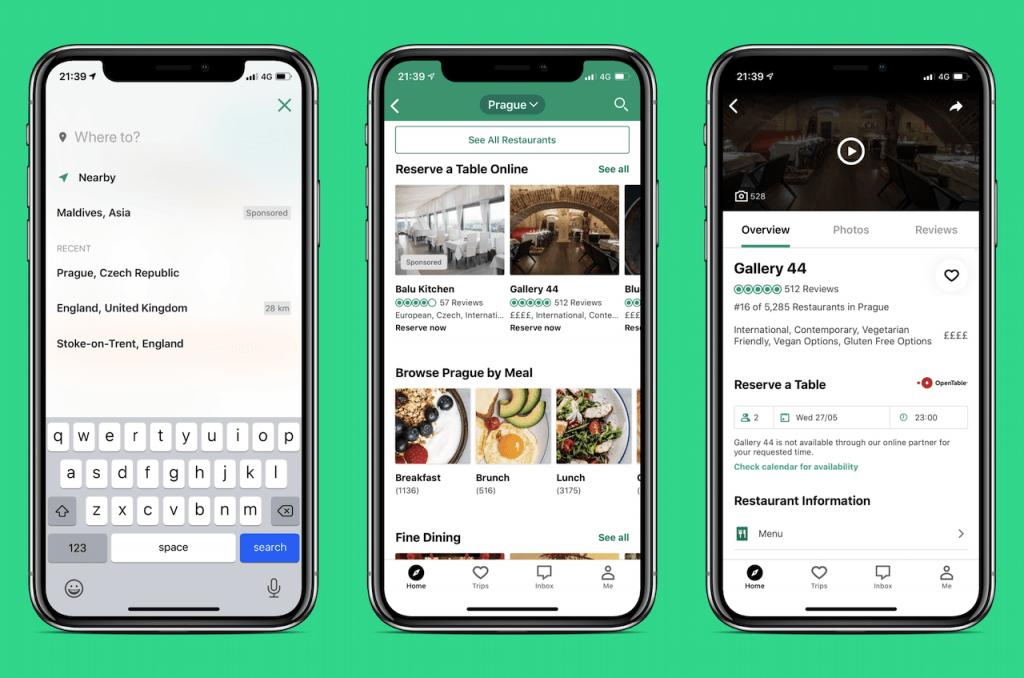 Screenshots of travel app: Tripadvisor