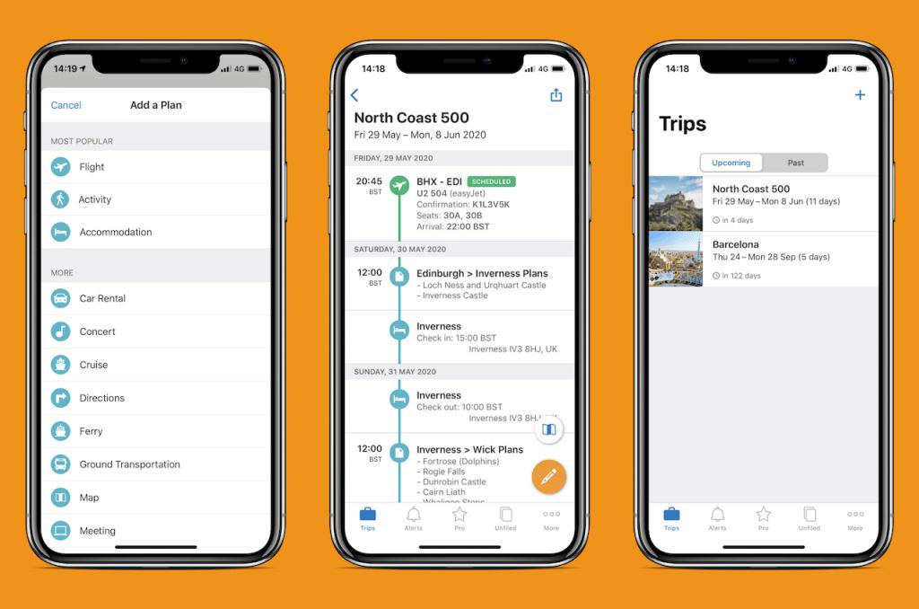 Screenshots of travel app: TripIt