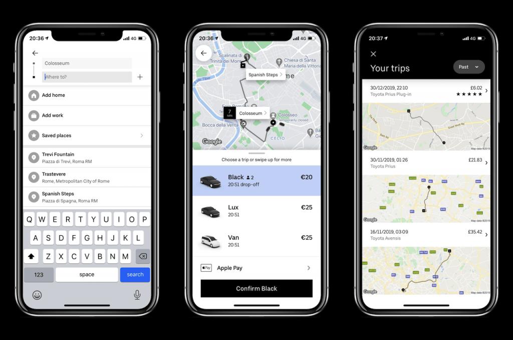 Screenshots of travel app: Uber