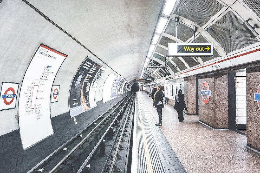 Near empty tube station in the London Underground