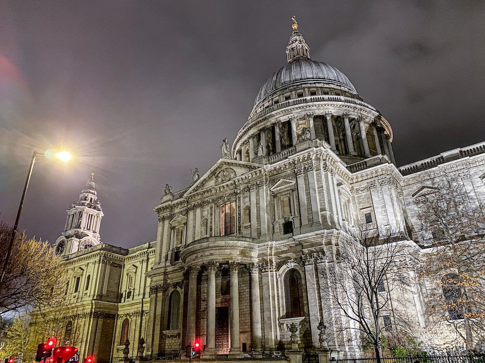 Cloudy night sky above St Pauls Cathedral in London