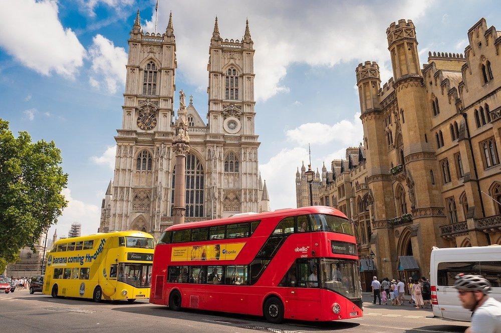 London buses in front of Trafalgar Square