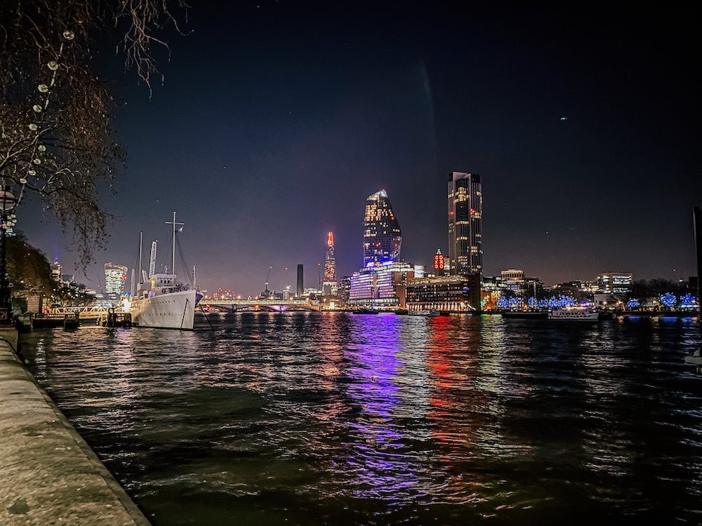 View of the Shard at night from the River Thames