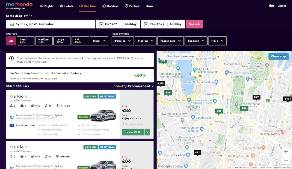 Screenshots of rental car comparison website: Momondo