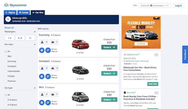 Screenshots of rental car website: SkyScanner & Next Day Car Hire Comparison