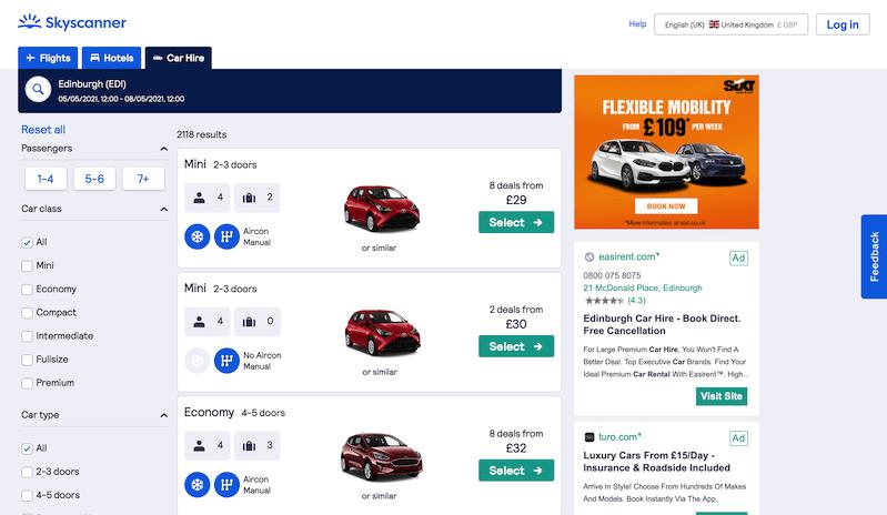 Screenshots of rental car website: SkyScanner & Next Year Car Hire Comparison