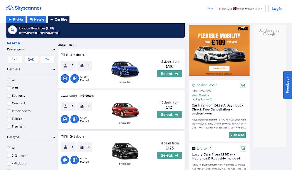 Screenshots of rental car comparison website: SkyScanner