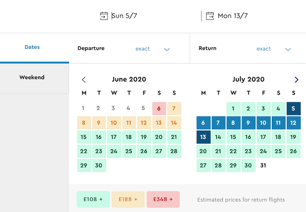 Screenshot of how to find cheap flights on Momondo: Calendar view