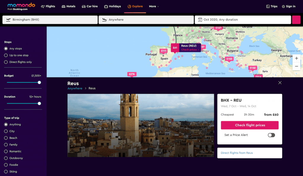 Screenshot of how to find cheap flights on Momondo: Choosing preferred destination