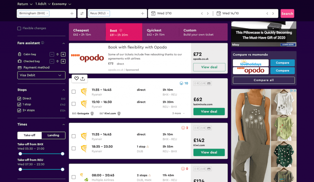 Screenshot of how to find cheap flights on Momondo: Selecting View Deal to see flight price