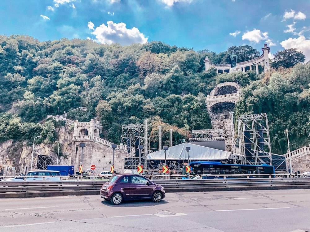 Fiat 500 in Budapest surrounded by a mountain