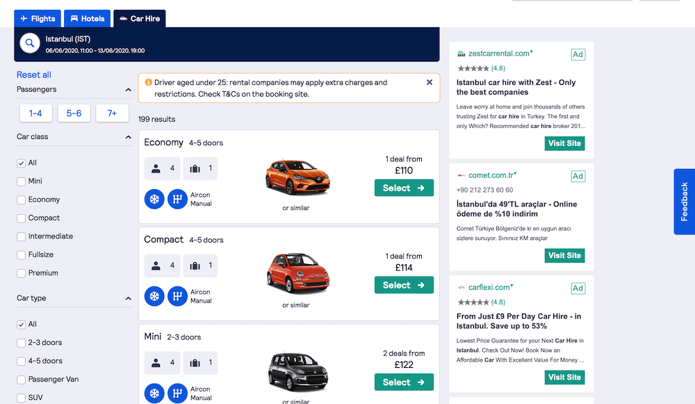 Screenshots of rental car website: SkyScanner