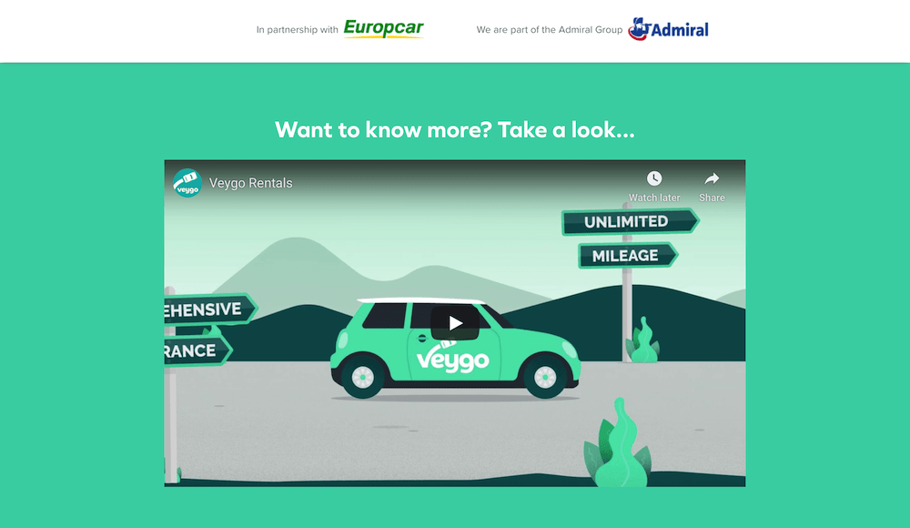 Screenshots of rental car website: Veygo
