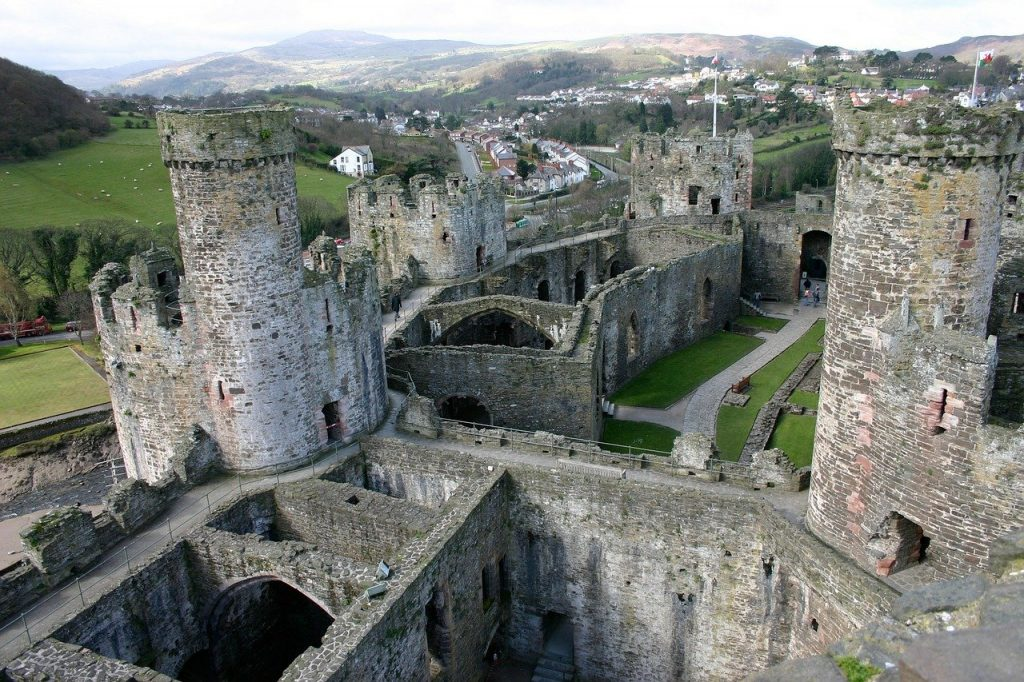 Birds eye view of Conwy Castle