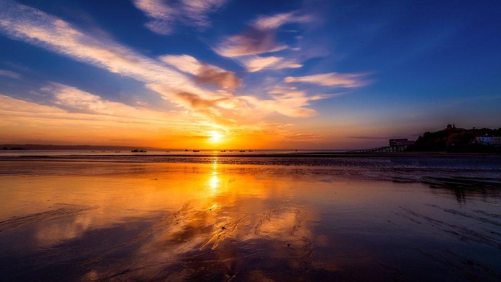 Sunset beach in Pembrokeshire